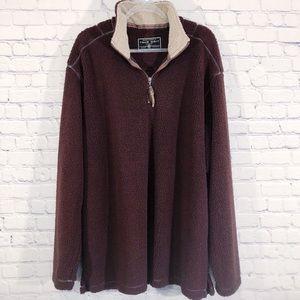 TRUE GRIT | Sherpa maroon red fleece pullover XL